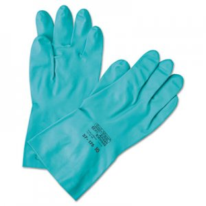 AnsellPro ANS371857 Sol-Vex Sandpatch-Grip Nitrile Gloves, Green, Size 7