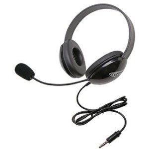Califone 2800TBK Stereo Black Headphone with To Go 3.5mm Plug