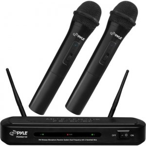 Pyle PDWM2130 FM Wireless Microphone Receiver System Dual Frequency with 2 Handheld Mics