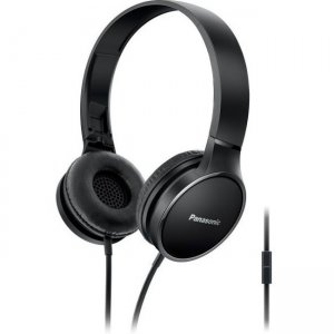 Panasonic RP-HF300M-K Lightweight On-Ear Headphones with Mic and Controller - Black