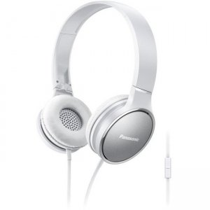 Panasonic RP-HF300M-W Lightweight On-Ear Headphones with Mic and Controller - White