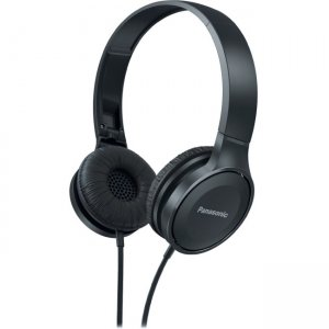 Panasonic RP-HF100M-K Lightweight On-Ear Headphones with Mic + Controller - Black