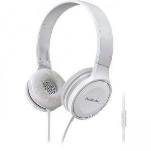 Panasonic RP-HF100M-W Lightweight On-Ear Headphones with Mic + Controller - White