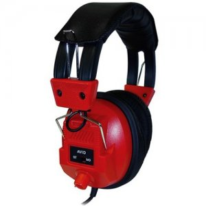 Avid 1EDUAE808RED Education AE-808 Switchable Stereo/Mono Headphone with Voume Control, Red