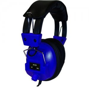 Avid 1EDUAE808BLUE Education AE-808 Switchable Stereo/Mono Headphone with Voume Control, Blue