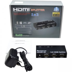 Hornettek HDMI14B-SP2 4K2K HDMI 1.4b 2-Port Splitter HDCP1.4 3D (3840X2160@30Hz) w/Metal Case