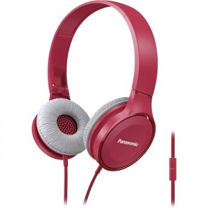 Panasonic RP-HF100M-P Lightweight On-Ear Headphones with Mic + Controller - Pink