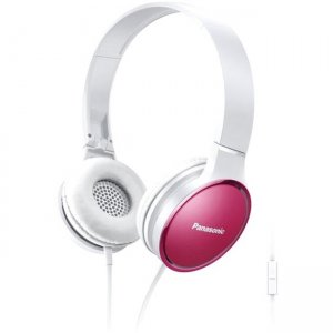 Panasonic RP-HF300M-P Lightweight On-Ear Headphones with Mic and Controller - Pink