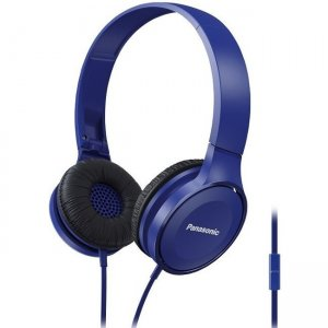 Panasonic RP-HF100M-A Lightweight On-Ear Headphones with Mic + Controller - Blue