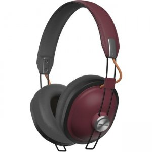 Panasonic RP-HTX80B-R Retro Over-Ear Bluetooth, 24-Hour Playback Headphones - Sangria