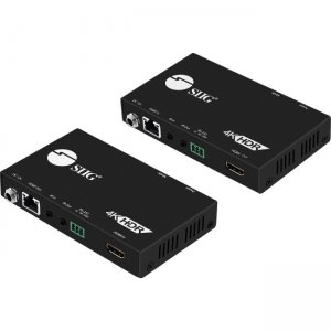 SIIG CE-H23211-S1 4K HDR HDMI 2.0 HDBaseT Extender Over Single Cat5e/6 with RS-232 & IR - 60m