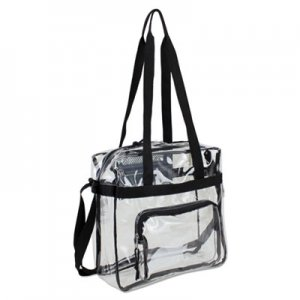 Eastsport EST498000BJBLK Clear Stadium Approved Tote, 12 x 5 x 12, Black/Clear