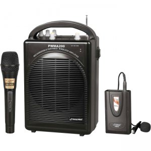 PylePro PWMA200 Rechargeable Portable PA System with Wireless Lavalier/Headset MIC and 1 Wired Mic