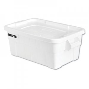 Rubbermaid Commercial RCP9S30WHICT BRUTE Tote with Lid, 14 gal, 17w x 28d x 11h, White, 6/Carton