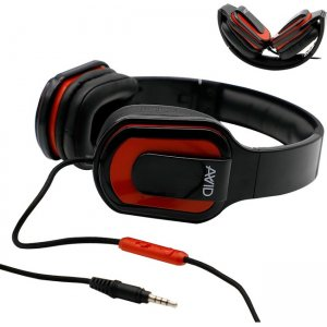 Avid 2EDU-MD66RD-SS32 AE-66 Foldable Over Ear Headset w/ In Line Microphone, Red