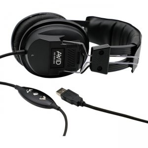 Avid 1EDU-808USB AE-808 USB Headphone with In Line Microphone, Black