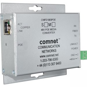 "ComNet CNFE1002APOEMHO/M Industrially Hardened 100Mbps Media Converter with 48V POE, Mini, ""A"" Unit"