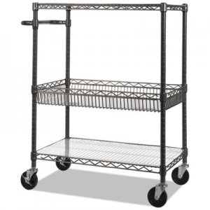 Alera ALESW543018BA Three-Tier Wire Rolling Cart, 34w x 18d x 40h, Black Anthracite