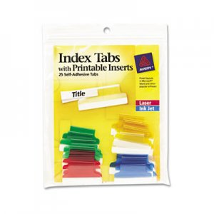 Avery AVE16219 Insertable Index Tabs with Printable Inserts, 1, Assorted Tab, 25/Pack