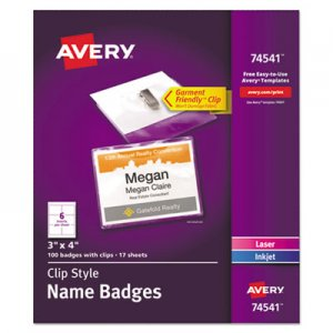 Avery AVE74541 Clip-Style Name Badge Holder w/Laser/Inkjet Insert, Top Load, 3 x 4, WE, 100/Box