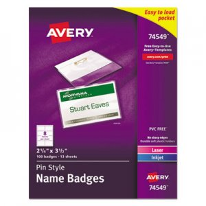 Avery AVE74549 Badge Holder Kit w/Laser/Inkjet Insert, Top Load, 2 1/4 x 3 1/2, White, 100