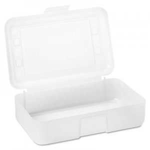 Advantus AVT34104 Gem Polypropylene Pencil Box with Lid, Clear, 8 1/2 x 5 1/2 x 2 1/2