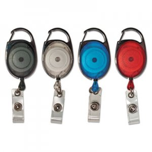 "Advantus AVT75552 Carabiner-Style Retractable ID Card Reel, 30"" Extension, Assorted, 20/Pack"
