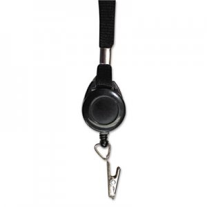 "Advantus AVT75549 Lanyards with Retractable ID Reels, Clip Style, 34"" Long, Black, 12/Carton"