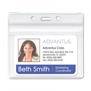Advantus 75523 Resealable ID Badge Holder, Horizontal, 3 3/4 x 2 5/8, Clear, 50/Pack AVT75523