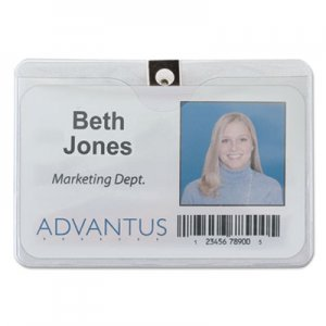 Advantus AVT75456 ID Badge Holder w/Clip, Horizontal, 4w x 3h, Clear, 50/Pack
