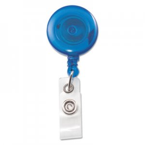 "Advantus AVT75472 Translucent Retractable ID Card Reel, 34"" Extension, Blue, 12/Pack"