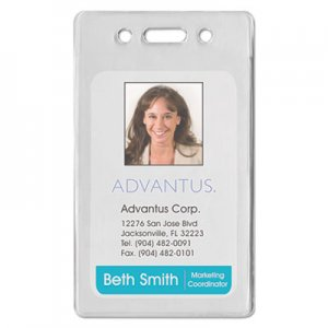 Advantus 75451 Proximity ID Badge Holder, Vertical, 2 3/8w x 3 3/8h, Clear, 50/Pack AVT75451