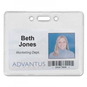 Advantus 75450 Proximity ID Badge Holder, Horizontal, 3 3/8w x 2 3/8h, Clear, 50/Pack AVT75450