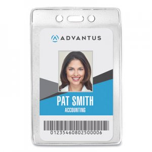 Advantus AVT75419 Security ID Badge Holder, Vertical, 3 3/8w x 4 1/4h, Clear, 50/Box