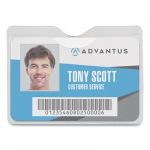 Advantus AVT75412 Security ID Badge Holder with Clip, Horizontal, 3 1/2w x 2 1/2h, Clear, 50/Box