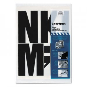 "Chartpak 01184 Press-On Vinyl Uppercase Letters, Self Adhesive, Black, 6""h, 38/Pack CHA01184"