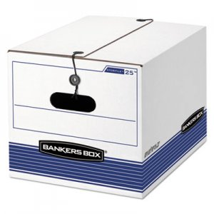 Bankers Box 0002501 STOR/FILE Storage Box, Legal/Letter, Tie Closure, White/Blue, 4/Carton FEL0002501