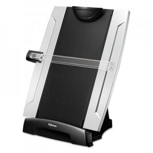 Fellowes 8033201 Office Suites Desktop Copyholder, Plastic, 150 Sheet Capacity, Black/Silver FEL8033201