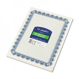 Geographics 22901 Parchment Paper Certificates, 8-1/2 x 11, Blue Royalty Border, 50/Pack GEO22901