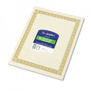 Geographics 21015 Parchment Paper Certificates, 8-1/2 x 11, Natural Diplomat Border, 50/Pack GEO21015