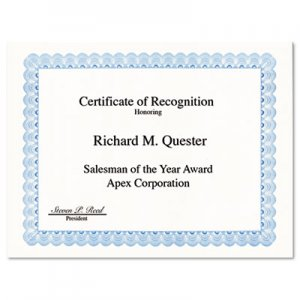 Geographics 20008 Parchment Paper Certificates, 8-1/2 x 11, Blue Conventional Border, 50/Pack GEO20008