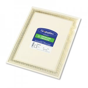 Geographics GEO45492 Foil Enhanced Certificates, 8-1/2 x 11, Gold Flourish Border, 12/Pack