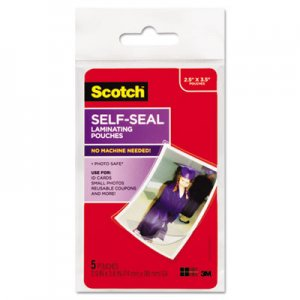 Scotch PL903G Self-Sealing Laminating Pouches, Glossy, 2 13/16 x 3 3/4, Wallet Size, 5/Pack MMMPL903G