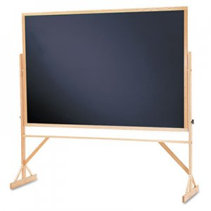 Quartet QRTWTR406810 Reversible Chalkboard, 72 x 48, Black Surface, Oak Frame