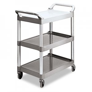 Rubbermaid Commercial 342488PM Economy Plastic Cart, Three-Shelf, 18-5/8w x 33-5/8d x 37-3/4h, Platinum