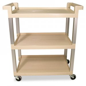 Rubbermaid Commercial 9T6571BG Three-Shelf Service Cart w/Brushed Aluminum Upright, 16-1/4 x 31-1/2 x 36