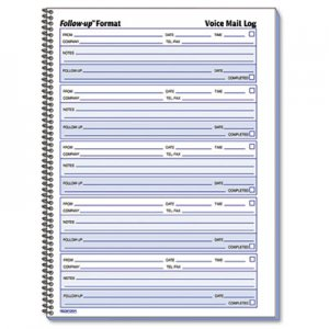 Rediform 51114 Voice Mail Wirebound Log Books, 8 x 10 5/8, 500 Sets/Book RED51114