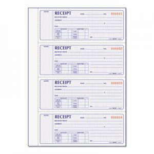 Rediform RED8L816 Receipt Book, 7 x 2 3/4, Carbonless Duplicate, 400 Sets/Book