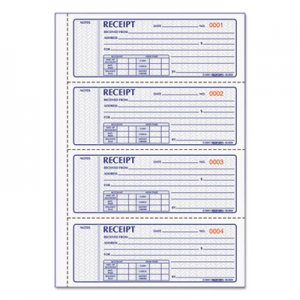 Rediform RED8L808 Money Receipt Book, 7 x 2 3/4, Carbonless Triplicate, 100 Sets/Book