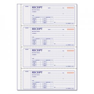 Rediform RED8L806 Money Receipt Book, 7 x 2 3/4, Carbonless Duplicate, 200 Sets/Book